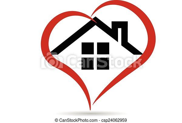 logo, vecteur, coeur, maison - csp24062959