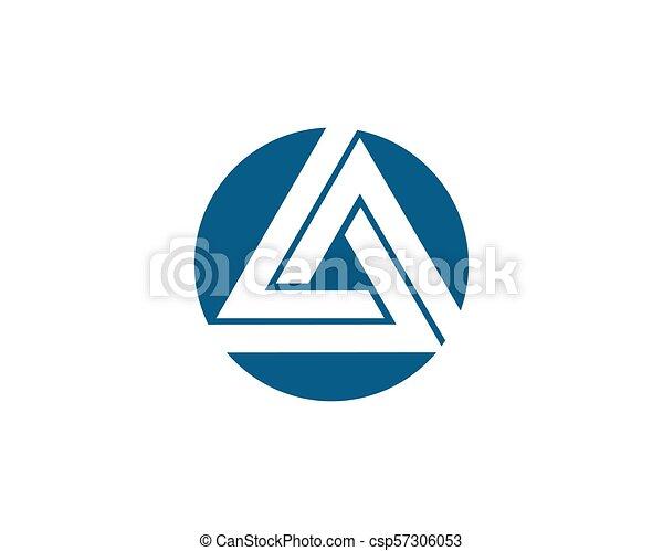 logo, vector, driehoek, mal, pictogram - csp57306053