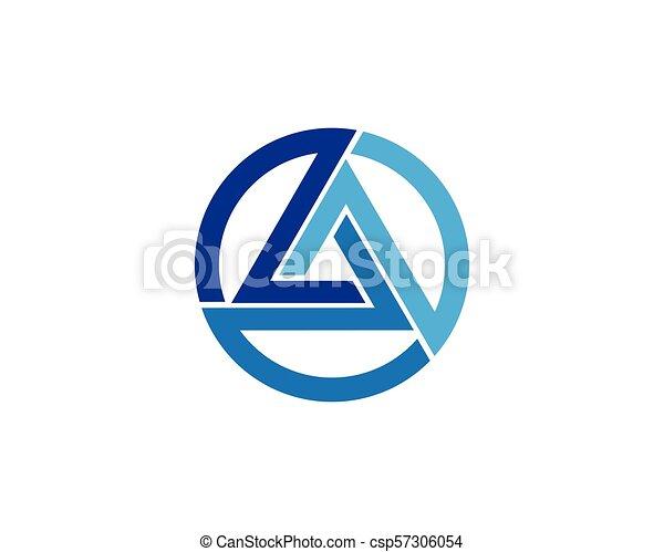 logo, vector, driehoek, mal, pictogram - csp57306054
