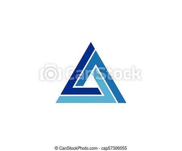 logo, vector, driehoek, mal, pictogram - csp57306055