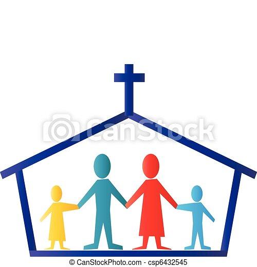 logo, vector, gezin, kerk - csp6432545