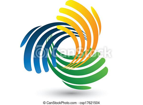 logo, vector, het verbinden, handen - csp17621504