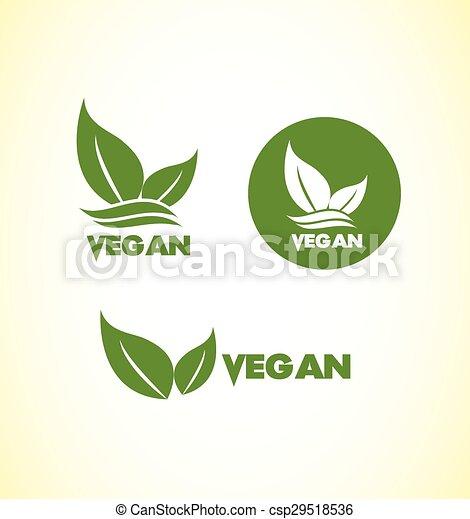 logo, vegetariër, set, vegan, pictogram - csp29518536
