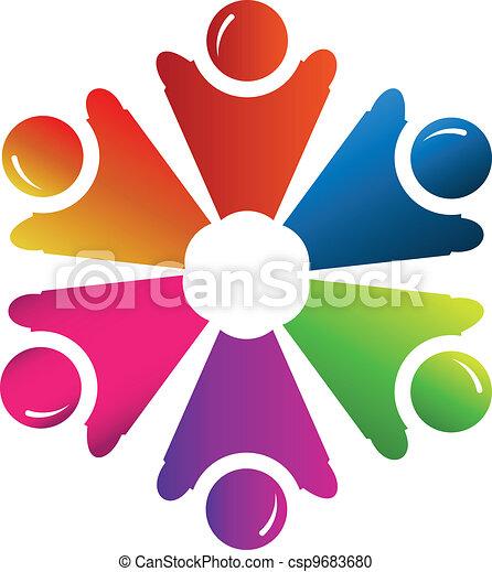 logo, vektor, gruppe, folk, teamwork - csp9683680