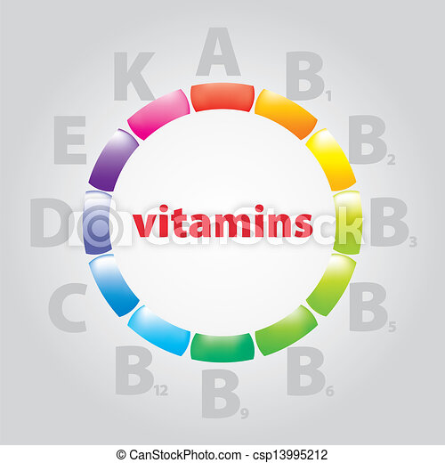 logo, vitamine, voeding - csp13995212