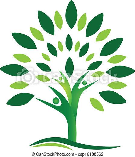 logo, wektor, drzewo, ludzie, teamwork - csp16188562
