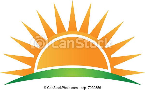 logo, wektor, horyzont, słońce - csp17239856