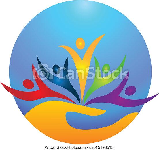 logo, wektor, szczęśliwy, ludzie - csp15193515