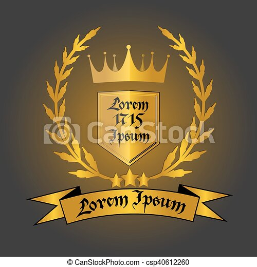 a0beed4a Logo with crown. Logo with gold crown, laurel wreath, shield with ...