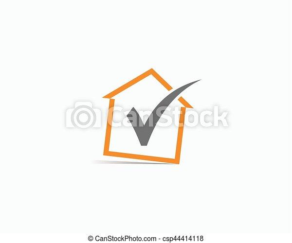 Logo with home icon. Vector logo check house. - csp44414118