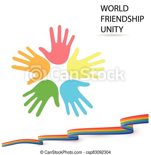 Logo WORLD. FRIENDSHIP. UNITY with a friendly flag - csp83092304