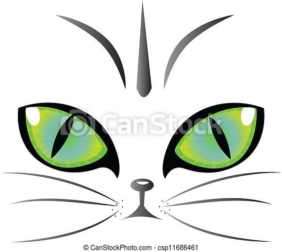 logo, yeux, vecteur, chat - csp11686461