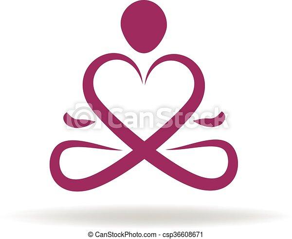 Logo Yoga Love Symbol Vector Icon Vectors Illustration Search