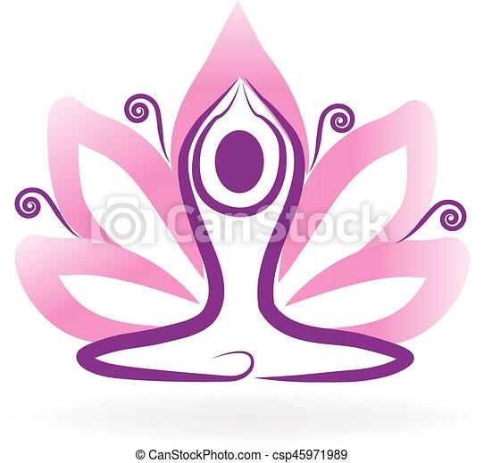 Logo Yoga Man Lotus Flower Lotus Flower Yoga Logo Meditation Symbol