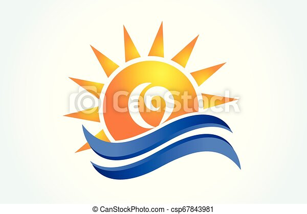 logo, zon, golven - csp67843981