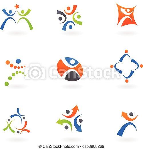 logos, 2, humain, icônes - csp3908269