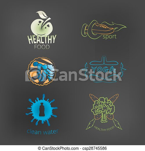 logos, ensemble, style de vie, sain, cle, nourriture, fitness, yoga - csp28745586