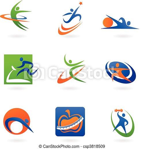 Farbige Fitness-Ikonen und Logos - csp3818509