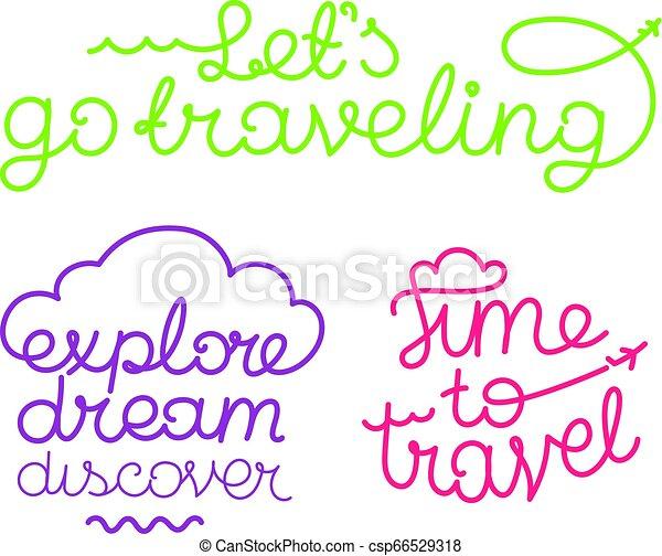 Logos vectoriales de diseño. Vamos a viajar. Tiempo de viajar. Explora el sueño descubierto - csp66529318
