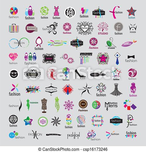 logos, mode, accessoirs, sammlung, vektor, größten, kleidung - csp16173246