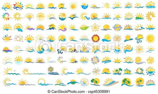 Logos sun and sea. - csp45308991