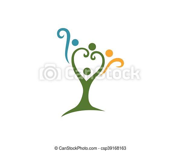 logotipo, árbol, familia  - csp39168163