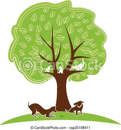 Logo de gato y árbol de perro - csp25198411