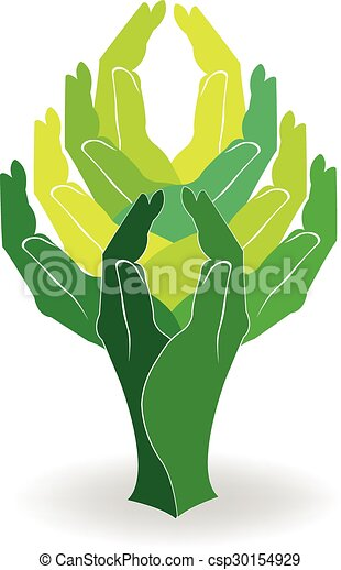Manos verdes de logo - csp30154929