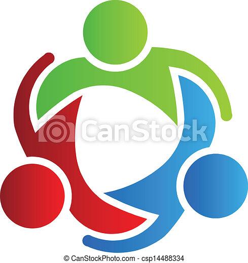 logotipo, 3, disegno, partner affari - csp14488334