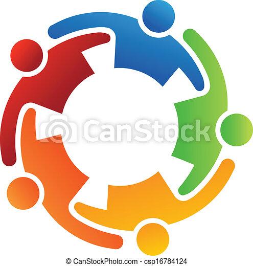 Trabajo en equipo abrazo 5 logo - csp16784124