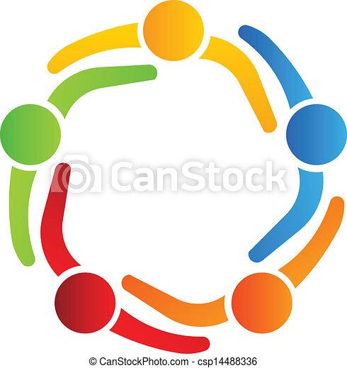 logotipo, 5, desenho, sócios negócio - csp14488336