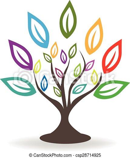logotipo, albero, colorito, mette foglie - csp28714925