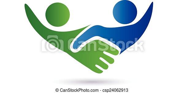 Apretar las manos en el logo de los negocios - csp24062913