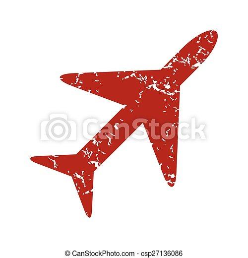 Logotipo de avión grunge rojo - csp27136086