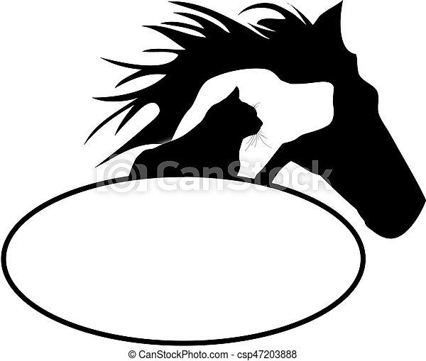 Logotipo, caballo, perro, gato.