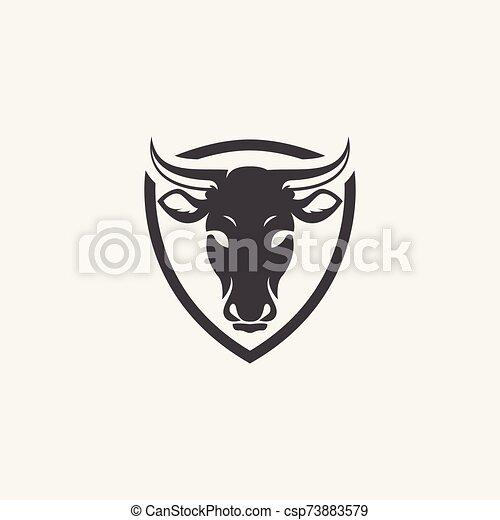 logotipo, cabeza de vaca, icono - csp73883579
