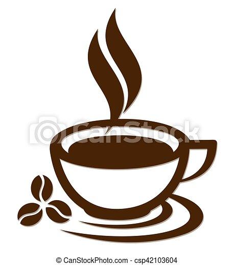 Logotipo, café, cup. Logotipo, café, beans., caliente, taza.