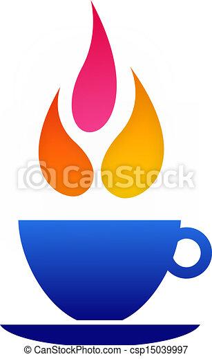 logotipo, caffè, fiamma - csp15039997