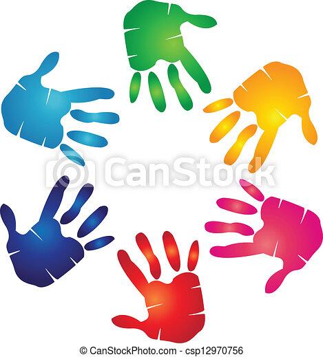 logotipo, coloridos, mãos - csp12970756
