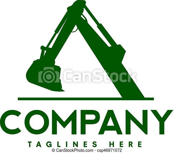 logotipo, construção, escavadores, maquinaria - csp46971072