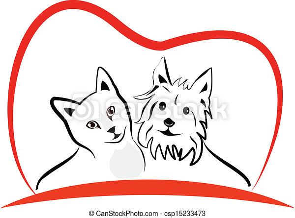 Gato y perro adoran el logo del corazón - csp15233473