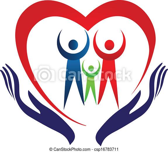 Logotipo, corazón, cuidado, familia , manos. Corazón ...