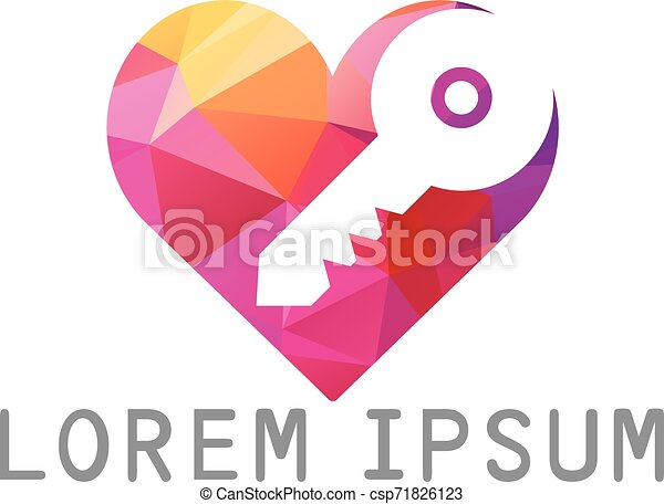 Diseño de logo de la llave del corazón. - csp71826123