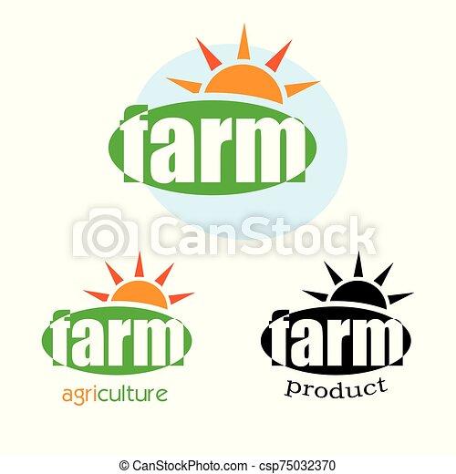 logotipo, diseño, granja, plantilla, verde - csp75032370