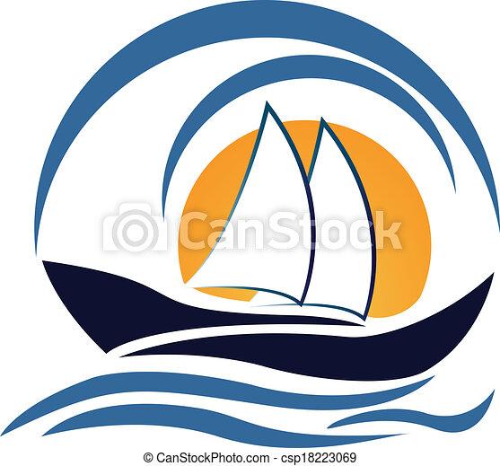 logotipo, disegno, yacht, barca - csp18223069