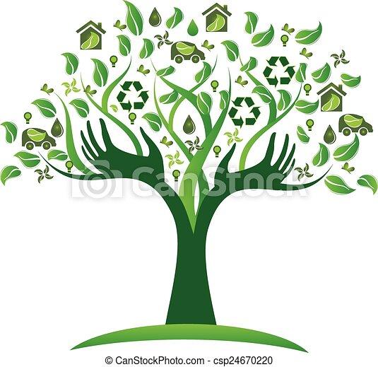 logotipo, ecológico, árvore, verde, mãos - csp24670220