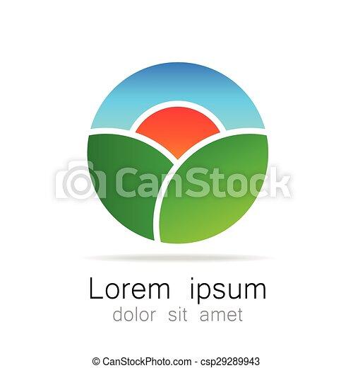 logotipo, ecológico, natural, paisagem, modelo - csp29289943