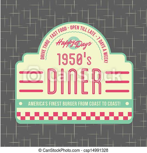 Diseño de logotipo estilo restaurante de los años 50 - csp14991328
