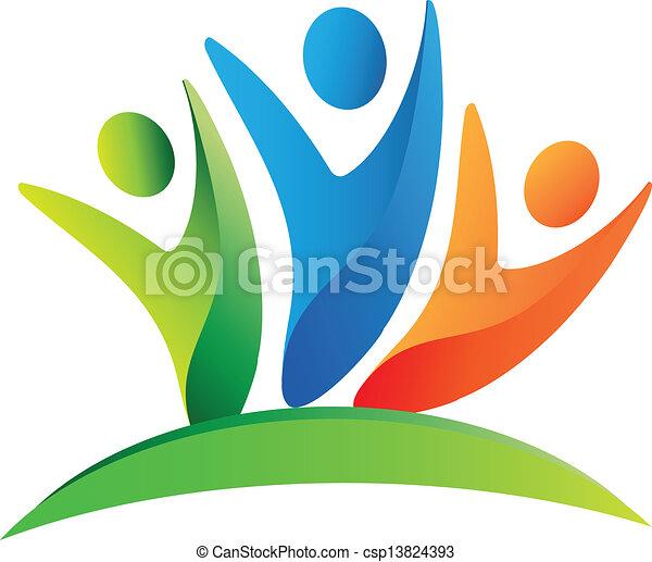 Trabajo en equipo gente feliz logo - csp13824393