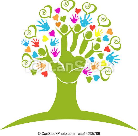 Las manos de los árboles y los corazones figuran logotipo - csp14235786